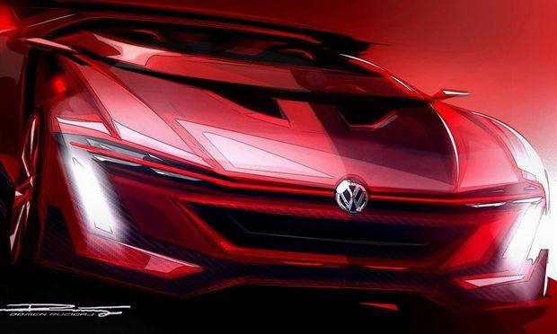 近日,大众官方发布了一组高尔夫GTI Roadster概念车的官方设计图,这款新车将于5月29日在奥地利沃尔特胡举办的第33届GTI车迷大会上发布。   『大众高尔夫GTI Roadster概念车』 据了解,高尔夫GTI Roadster概念车是大众专门为PS3游戏《GT赛车6》推出的一款新车型。从官图中我们可了解到,新车发动机盖以棱角化线条设计为主,并装有散热口,下进口采用倒梯形蜂窝状格栅设计,前灯组样式非常锐利,前保险杠两侧装有条形LED日间行车灯。  『大众高尔夫GTI Roadster概念车』 尾